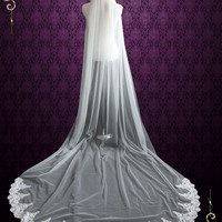 Cathedral Length Soft Tulle Wedding Veil with Laces at the End VG1046
