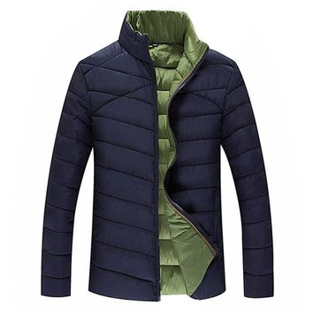 Mens Slim Down Jackets 2018 WInter Jacket Men Casual Patchwork Warm Stand Collar Outwear Plus Size Outwear Padded Zippers Coat