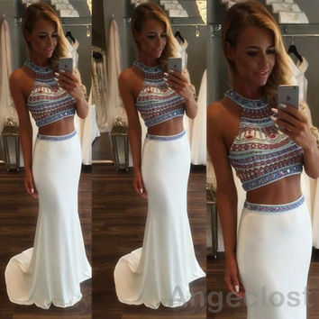 Two Piece White Mermaid Prom Dresses Long 2017 Halter Crystal Beading Sweep Train Arabic Luxury African Party Gowns Cheap 2016