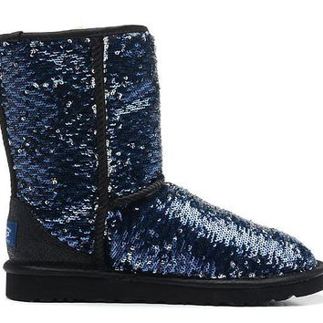LFMON UGG 1002978 Flipped Over Sparkles Women Fashion Casual Wool Winter Snow Boots Blue