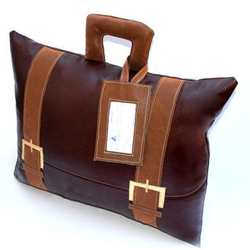 Faux Leather Briefcase Pillow with Business by YellowBugBoutique