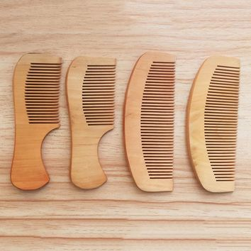 Anti-Static Pocket Wooden Comb Peach Wood Hair Comb Hair Salon Styling Tools Hairdressing Hair Care Barbers Handle Brush 14cm