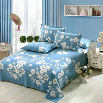Pure cotton bed flat fitted sheet white blue flowers printing twin full queen king size bedding sets pillowcase Home textile