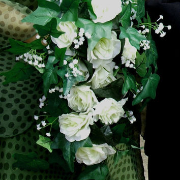 CUSTOM Floral Bridal Roses Bouquet (or Lillies): Teardrop, Shower, Cascade, Bridesmaids, Flowergirl, Spring/Summer Bouquet, Woodland, Rustic