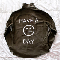 Have A Blah Day Olive Button Up Shirt Large