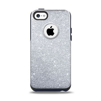 The Silver Sparkly Glitter Ultra Metallic Apple iPhone 5c Otterbox Commuter Case Skin Set