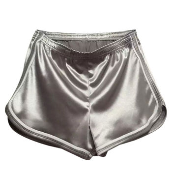 Grey Holographic Contrast Trims Elastic Waist Shorts