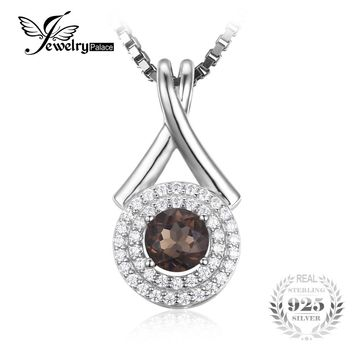 "JewelryPalace Fashion ""X"" marks 0.65ct Natural Smoky Quartz Round Pendant 925 Sterling Silver Fine Jewelry Not Include the Chain"
