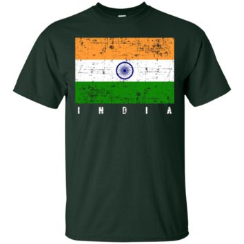 Distressed Vintage Style India Flag Tshirt