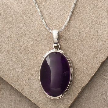 Amethyst Oval Gemstone Necklace
