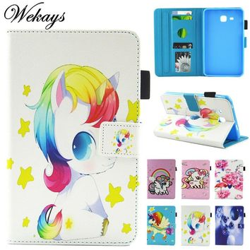 Wekays For Samsung Tab A 2016 T280 Cute Cartoon Unicorn Leather Case For Samsung Galaxy Tab A A6 7.0 T280 T285 Tablet Cover Case