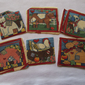 Vintage Farm Animal Fabric Squares