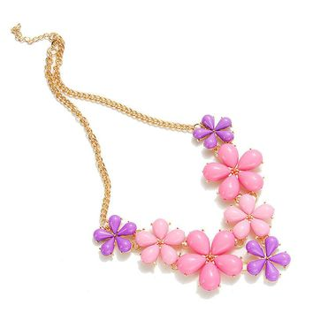 2017 Big Flower Choker Necklace Pink Blue Colorful Glod Chain Plant Resin Statement Necklaces&Pendant For Women Fashion Jewelry