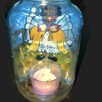 Reclaimed Large Glass Pickle Jar Upcycled into A Hurricane Lamp with Painted Tom Turkey Thanksgiving Home Decor Table Lighting Vase Cookie