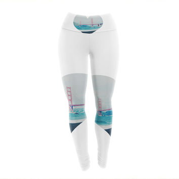 "Chelsea Victoria ""San Francisco Love"" Coastal Blue Yoga Leggings"