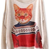 Cat Man Batwing-Sleeves Sweater - OASAP.com