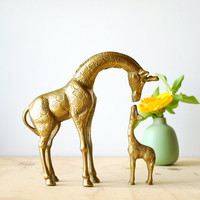 Reserved for Pamela - Vintage Brass Giraffe Family