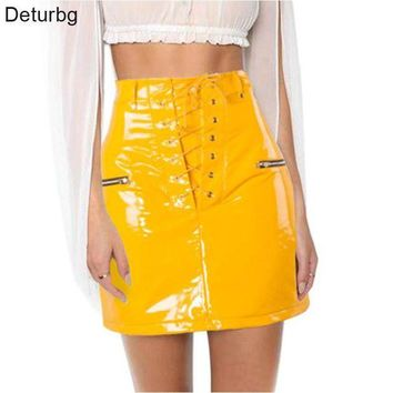 DCCKFS2 Deturbg Women's Fashion Lace-up Tied Mini Skirt High Waist Zipper Faux Leather Shining Yellow Flocking Skirts 2018 Spring SK186