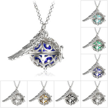 Pendant Necklace Pregnancy Balls Bola with Cage Angel Ball Baby Chime Hollow Out Metal Chain Necklaces & Pendants for Women
