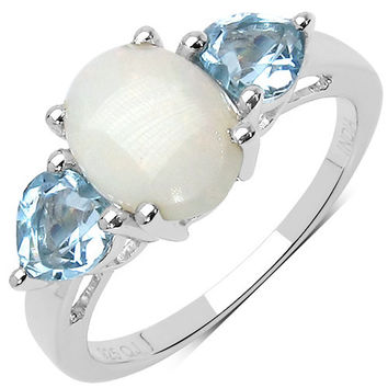 2.30 Carat Genuine Blue Topaz & Opal .925 Sterling Silver Ring