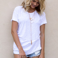 Alice Crew Neck Cuffed Sleeve White Tee