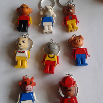 8 pcs LEGO® Fabuland  keychain keyring made with LEGO® minifigure  - party favor lot