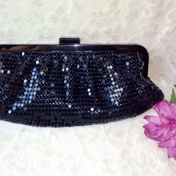 Black Mesh Metal Sparkly Evening Bag Clutch Vintage Formal Purse Goth Prom Dinner Party Handbag Wedding Funeral Opera Birthday Gift