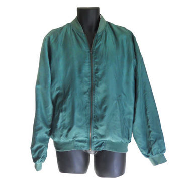 Silk Bomber Jacket Men Silk Jacket Men Bomber Jacket Green Jacket Light Jacket Spring Jacket Men Windbreaker Retro Windbreaker 90s Windbreak
