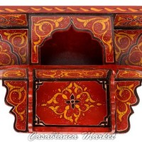 Hand Painted Wood Shelf, Red