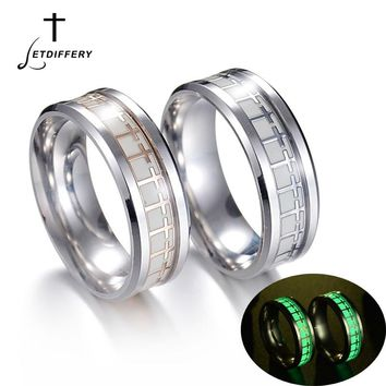 Letdiffery Stainless Steel Luminous Fluorescent Glowing Ring Jesus Cross Dragon pattern The Lord Of One Ring Can Drop
