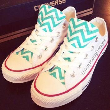 CREYUG7 Chevron Converse Low Top Sneakers Aqua Blue White Custom Chuck Taylors