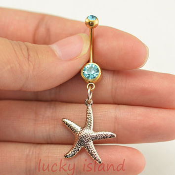 starfish belly button jewelry,starfish belly button rings,beach navel ring,lucky piercing belly ring,friendship piercing bellyring