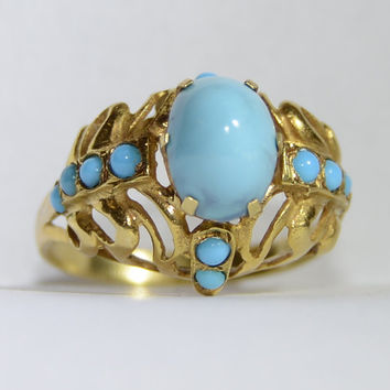 Vintage 18k Gold, Sleeping Beauty Turquoise Bohemian Princess Ring