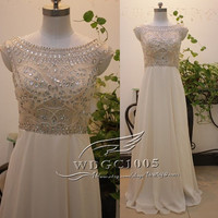 Champagne chiffon prom dress beading crystal Illusion prom dress beach bridesmaid gown long open back prom dresses graduation dress