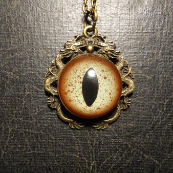 Double Dragon Glass Taxidermy Alligator Eye Necklace