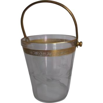 Clear Glass Vintage Ice Bucket Pail Gold Wash Metal Handle Etched/Cut Wheat Design