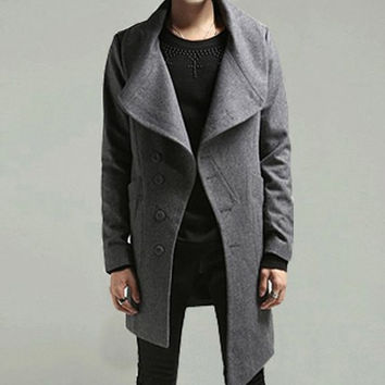 Deep Gray Turn-down Collar Long Sleeves Woolen Coat