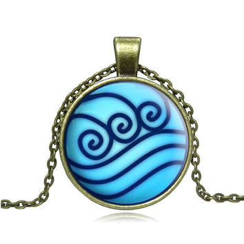 Avatar The Last Airbender Necklace Legend of Korra Water Tribe Glass Pendant Jewelry Silver Pendants for Men High Quality