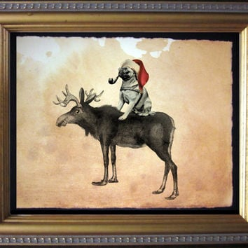 Pug Riding Moose with Santa Cap - Vintage Collage Art Print on Tea Stained Paper - Vintage Art Print - Vintage Paper