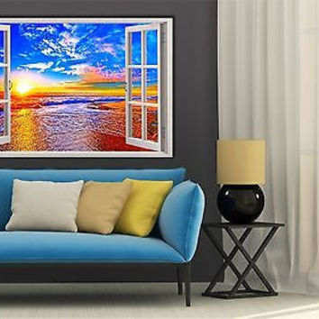 Beautiful Sunset 3D Window View Removable Decal Home Wall Vinyl Sticker