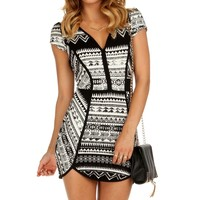 Sale-black Aztec Piping Dress