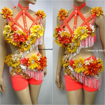 {SALE ITEM} Tropical Orange Fringe Fairy Monokini Dance Costume Rave Bra Halloween
