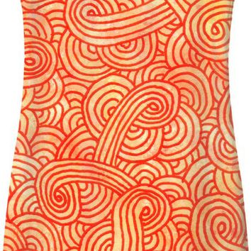 Orange and red swirls doodles Simple Dress