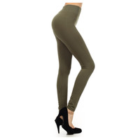In Style Fleece Lined Solid Olive Leggings