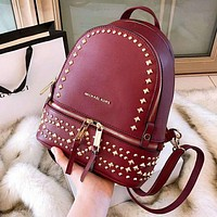 Michael Kors MK High Quality Trending Women Stylish Casual Shoulder School Bag Leather Rivet Backpack Red