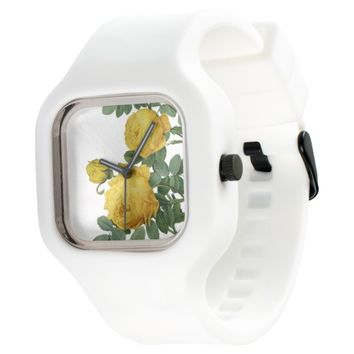 Vintage yellow rose painting watch