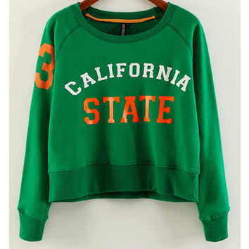 California State Graphic Print Loose Fitting Cropped Sweater