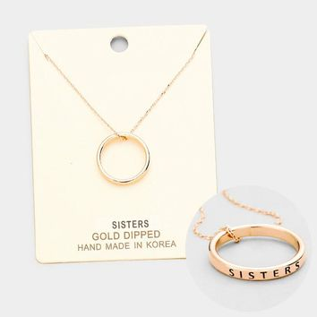 """""""Sister"""" Gold Dipped Ring Pendant Necklace"""