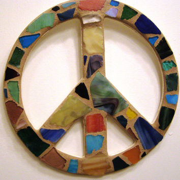Sea Glass Peace Sign, Peace Sign Wall Art, Mosaic Peace Sign, Beach Glass, Wall Art, Hippie, Beach Decor