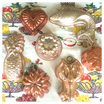Copper Jello Gelatin Molds Moulds Set of 7 Instant Collection Vintage Kitchen Grandma Chic